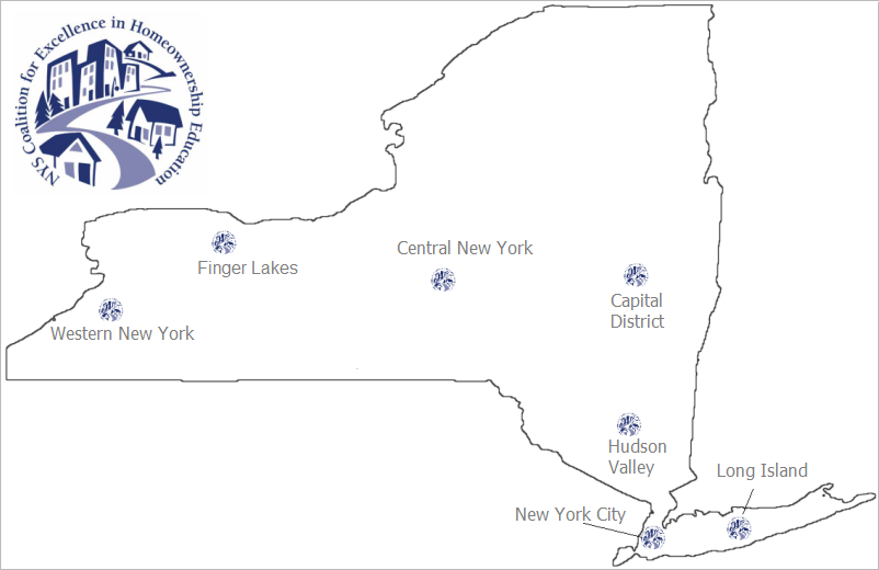 Map of New York State showing CXHE's seven regional chapters.